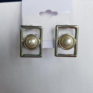 4/$20 Faux Pearl Rectangle Earrings